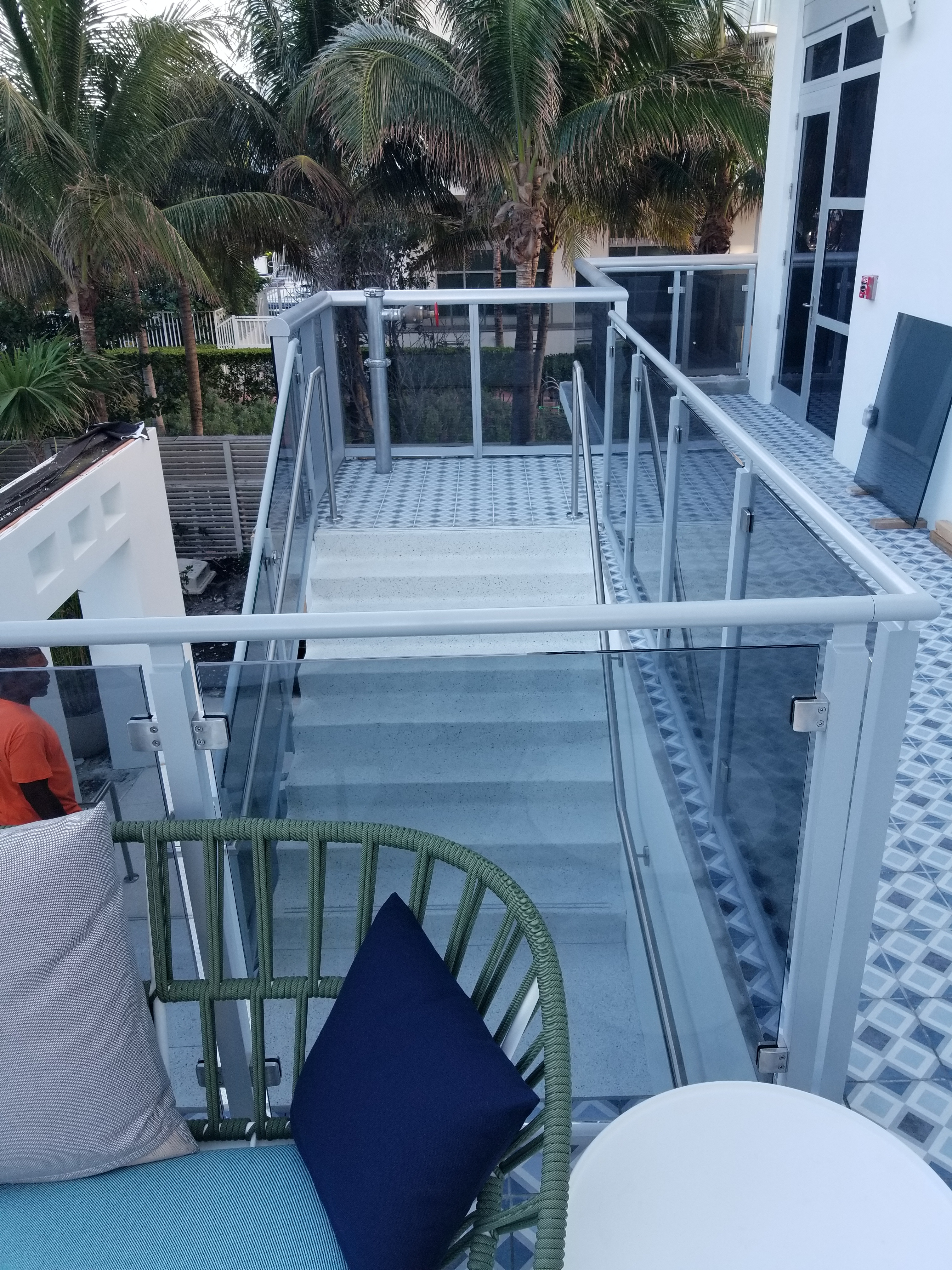 Glass railings with metal handles