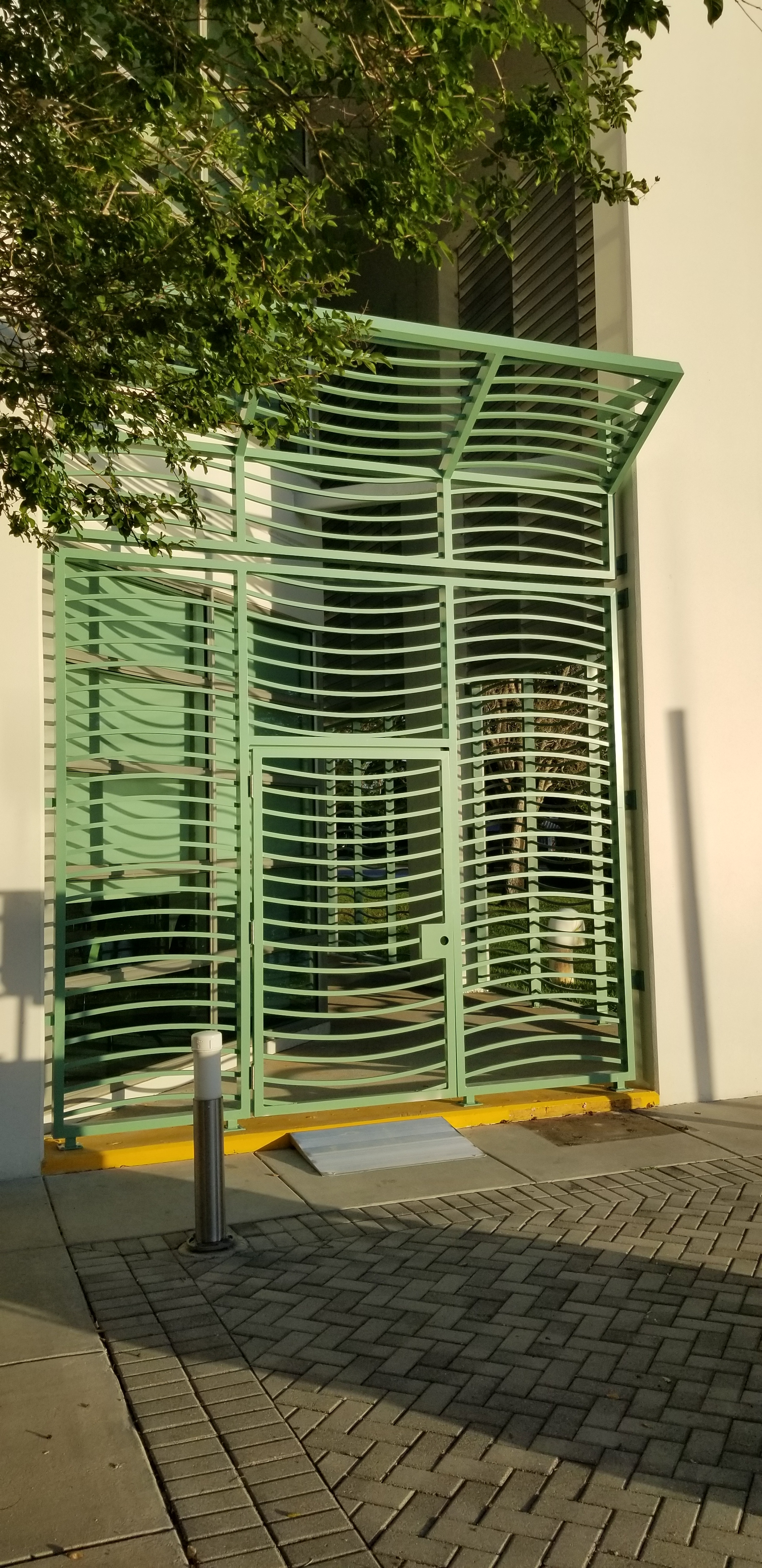 Green aluminum security entry gate