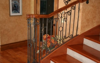 brown interior stairs, Artistic custom railings